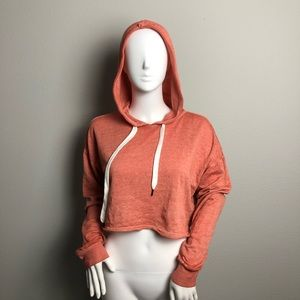 Cropped Hoodie Pullover Forever 21 Salmon Color